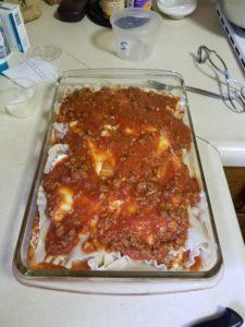 Lasagne, pre-oven